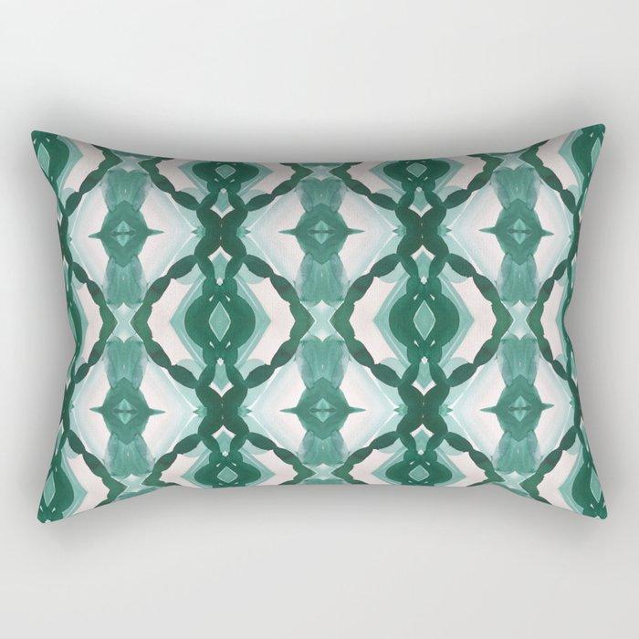 Watercolor Green Tile 1 Rectangular Pillow