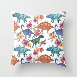 dinosaurs pattern Throw Pillow