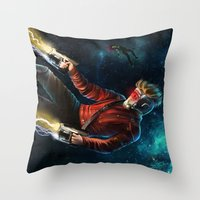 star lord Throw Pillows featuring Star Lord saves Gamora by Jaime Gervais
