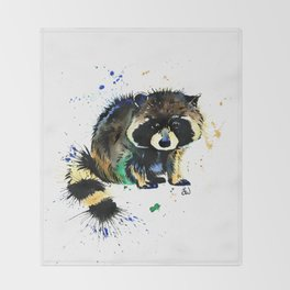 Raccoon - Splat Throw Blanket