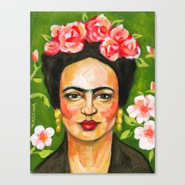 Frida in green Canvas Print