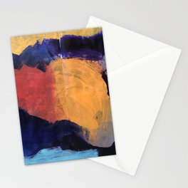 Mountain and Sun Abstract Acrylic Painting on Paper Stationery Cards