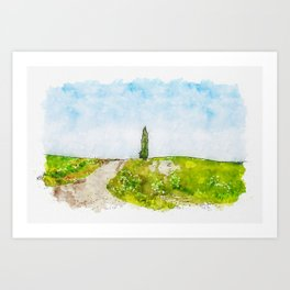 Aquarelle sketch art. Beautiful spring minimalistic landscape with green hills in Tuscany countryside, Italy Art Print