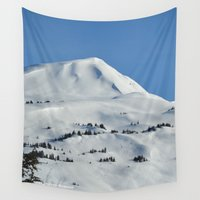 skiing Wall Tapestries featuring Back-Country Skiing  - VI by Alaskan Momma Bear
