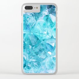 Blue Crystals Clear iPhone Case
