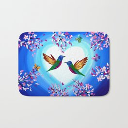 Hummingbirds and Cherry Blossoms with Butterflies Bath Mat