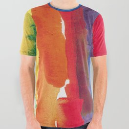 rainbow watercolor All Over Graphic Tee