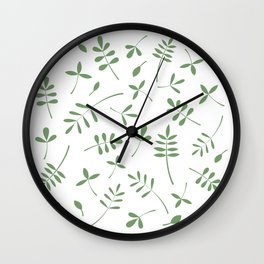 Green Leaves Design on White Wall Clock