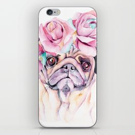 Flower Pug iPhone Skin