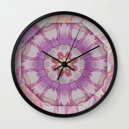 Soft Lavender Floral Kaleioscope Wall Clock