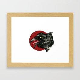 Red Moon Crow Framed Art Print