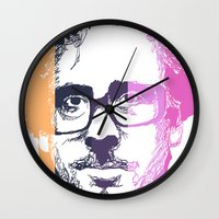 tim burton Wall Clocks featuring TIM BURTON IN COLORS by BURRO