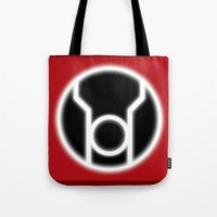 green lantern Tote Bags featuring Green Lantern: Red Lantern by The Barefoot Hatter
