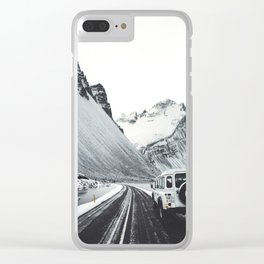 on the road in iceland Clear iPhone Case