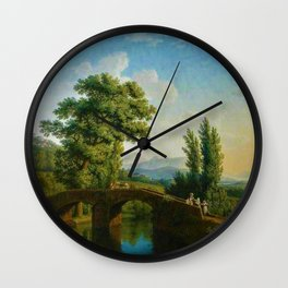 Italian Landscape with a Bridge and View of Monte Sarchio by Jakob Philipp Hackert Wall Clock