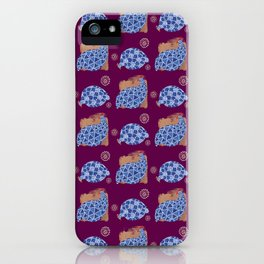 blue birds pattern on gold and purple iPhone Case