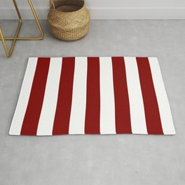 Maroon (HTML/CSS) - solid color - white stripes pattern Rug