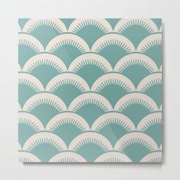 Japanese Fan Pattern Foam Green and Beige Metal Print