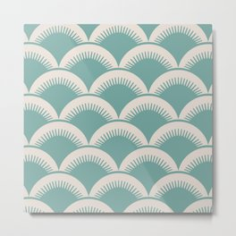 Japanese Fan Pattern Foam Green and Beige Metal Print