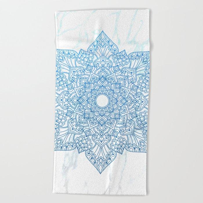 Blue flower mandala - marble Beach Towel