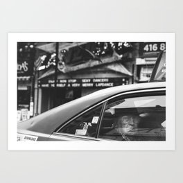 Godfather in downtown - street photography black and white Art Print