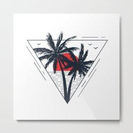 Sunset beach. Palms Metal Print
