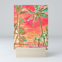 Vintage Hawaiian Beach, Mauna Lani Bay Mini Art Print