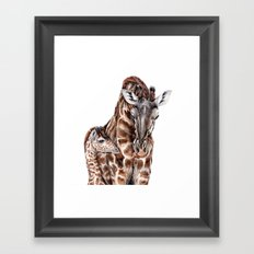 Giraffe with Baby Giraffe Framed Art Print