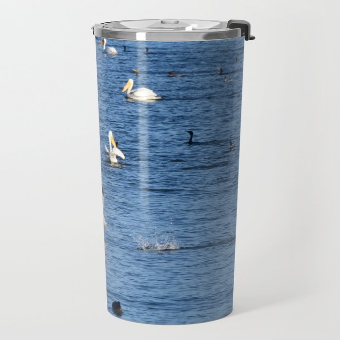 white pelican takeoff Travel Mug