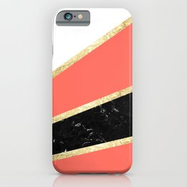 Living Coral, White, Black Marble and Gold Stripes Glam #1 #minimal #decor #art #society6 iPhone Case