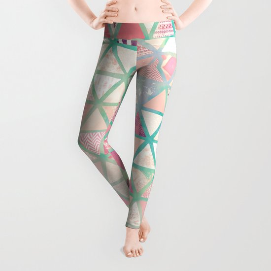 Pink Turquoise Abstract Floral Triangles Patchwork Leggings
