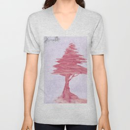 Red Tree watercolor on old paper Unisex V-Neck