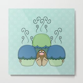 Cute Monster With Blue And Cyan Frosted Cupcakes Metal Print
