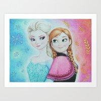 Elsa & Anna Art Print