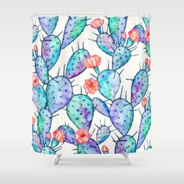 Rainbow Watercolor Cactus Pattern Shower Curtain