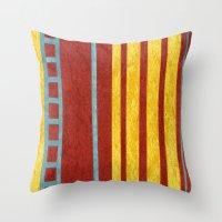 50s Throw Pillows featuring 50s block colour 1 by Pagan Sovereign Studios