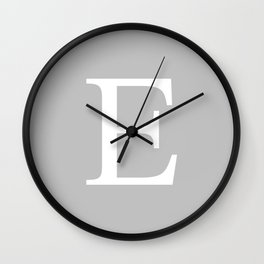 Silver Gray Basic Monogram E Wall Clock