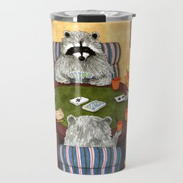 Raccoon 16 playing cards Travel Mug