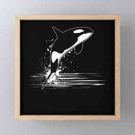 I Love Orca Whales Ocean Gift Motif Framed Mini Art Print