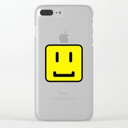 SQUARE SMILEY FACE CLASSIC YELLOW W/ BLACK Clear iPhone Case
