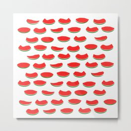 Watermelons on white background Metal Print