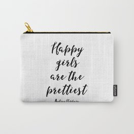 Happy Girls, Are The Prettiest, Happiness Quote, Printable Wall Art Audrey Hepburn Quote, Audrey Hep Carry-All Pouch