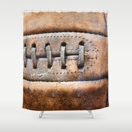 Old leather soccer ball Shower Curtain