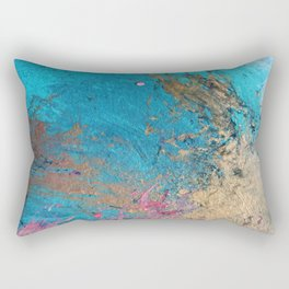 Coral Reef [2]: colorful abstract in blue, teal, gold, and pink Rectangular Pillow