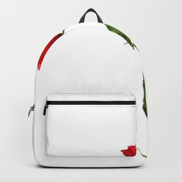 A RED LONG STEM ROSE BOTANICAL ART Backpack