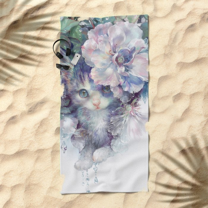 secret behind flowers Beach Towel