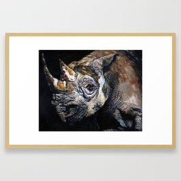 The Vanishing -Western Black Rhino, Now Extinct Framed Art Print