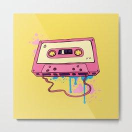 Audio cassette. Oldschool illustration. Retro cassette tape. Metal Print