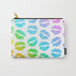 Rainbow Glitter Lips Carry-All Pouch