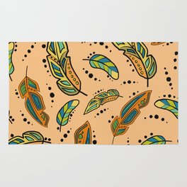 Southwest feathers with background color Rug